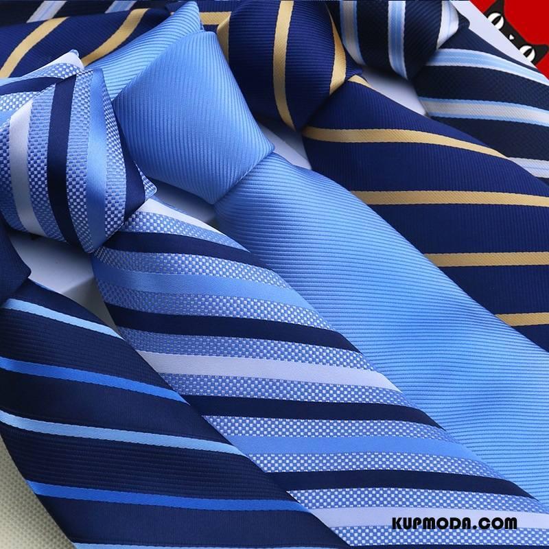 Krawat Męskie W Paski Męska Sukienka Jedwab 7 Cm Kolor Niebieski Czarny