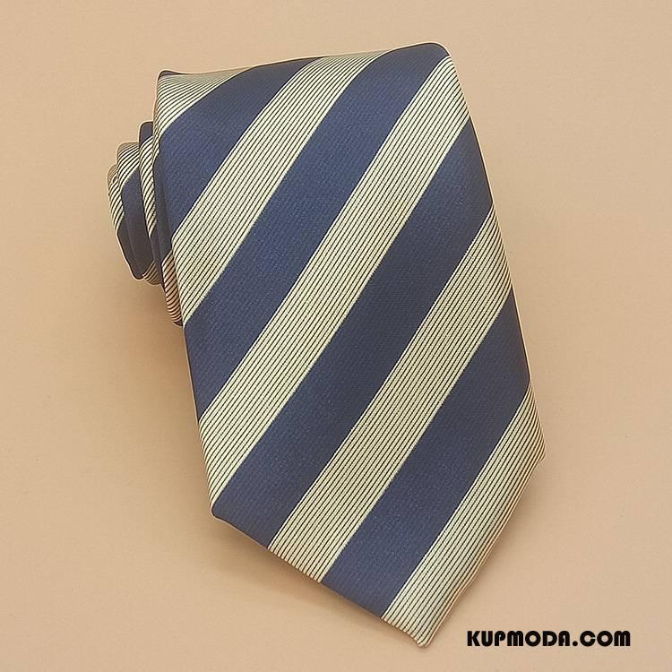 Krawat Męskie Z Pracy Męska Biznes W Paski Jedwab Klasyczny Niebieski