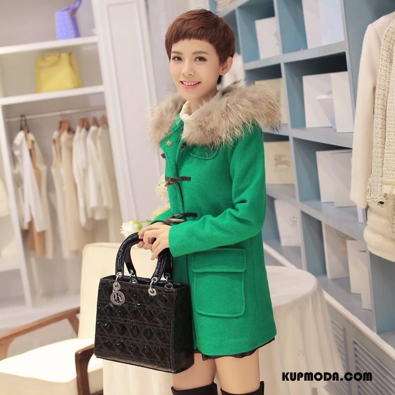 Kurtka Bawełniana Damskie Bawełniana Kurtka Jednorzędowy Długi Rękaw Długie Slim Fit Ubrania Bawełniane Zielony