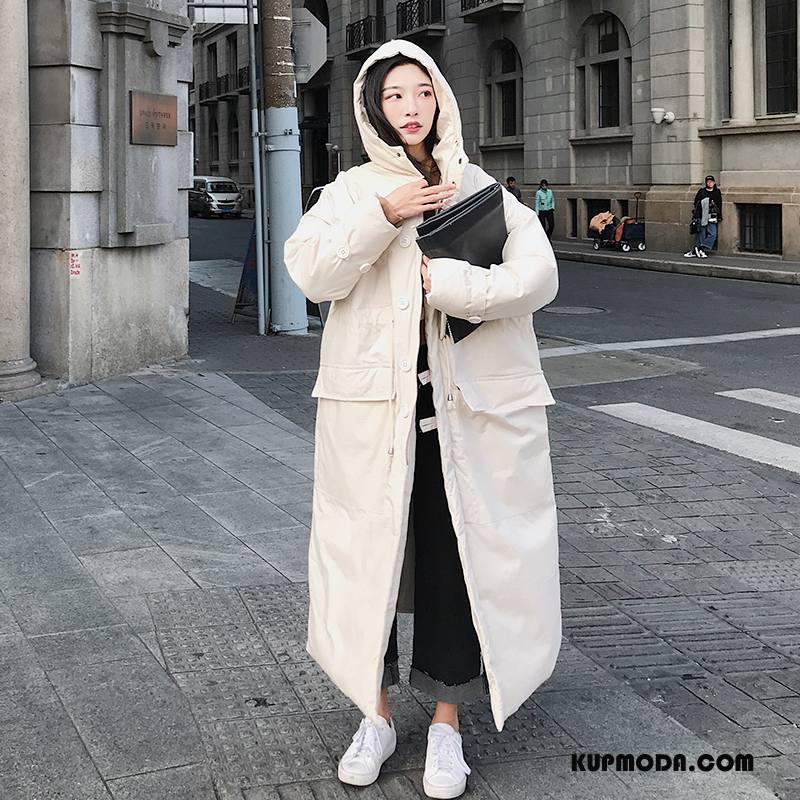 Kurtka Bawełniana Damskie Nietoperze Dla Grubych Zima Ubrania Bawełniane Z Kapturem Długi Rękaw Czysta Beżowy Biały