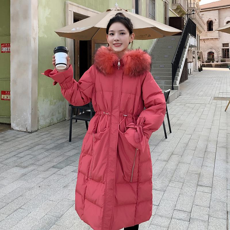 Kurtka Bawełniana Damskie Ubrania Bawełniane Duże Futrzany Kołnierz Slim Fit Odzież Zimowa Cienkie Czerwony