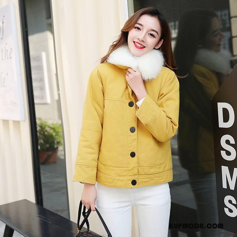 Kurtka Bawełniana Damskie Ubrania Bawełniane Osobowość Cienkie Eleganckie Zima Slim Fit Czysta Żółty
