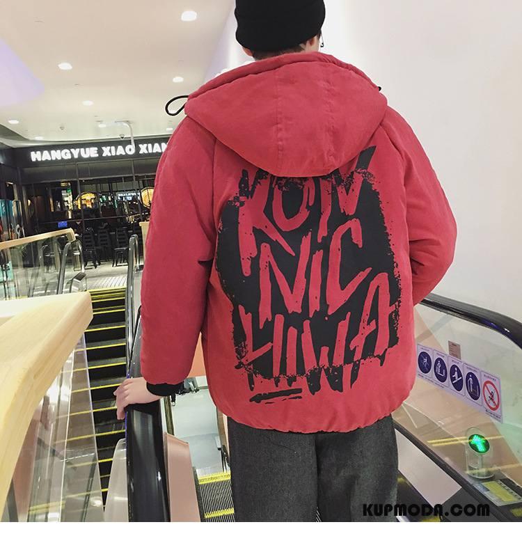 Kurtka Bawełniana Męskie Ubrania Bawełniane Płaszcz Zima Tendencja Bawełniana Kurtka Szerokie Czerwony