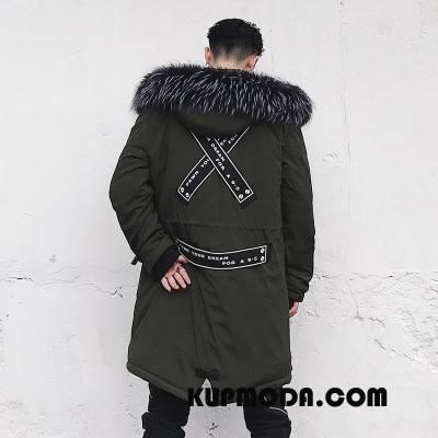 Kurtka Bawełniana Męskie Zima Slim Fit Moda Męska Oryginalny Długie Zielony