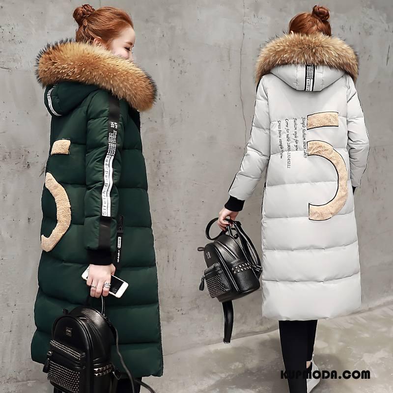 Kurtka Puchowa Damskie Tendencja Zima Długie Moda Ciemnozielony Czysta