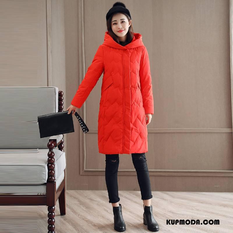 Kurtka Puchowa Damskie Zima Krótki Długi Rękaw Moda Długie Casual Czysta Czerwony