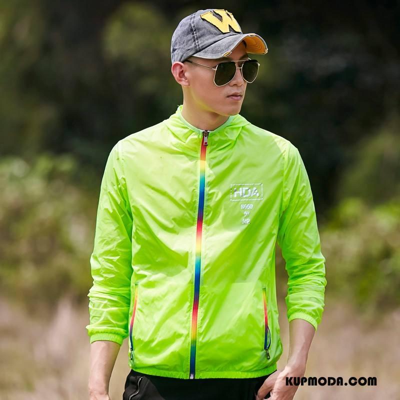 Kurtki Męskie Sun Odzież Ochrona Outdoor Męska Nowy Oddychające Ochrona Przed Słońcem Fluorescencja Fioletowy Zielony