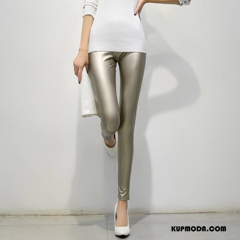 Legginsy Damskie 2018 Jesień Slim Fit Moda Spodnie Czysta Złoty