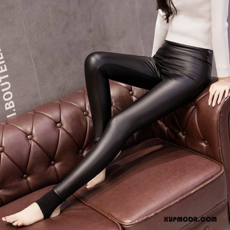 Legginsy Damskie 2018 Slim Fit Spodnie Eleganckie Plus Kaszmir Cienkie Czysta Czarny