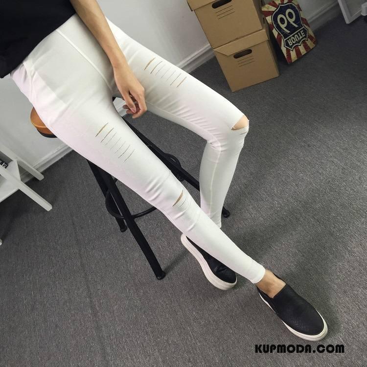 Legginsy Damskie Moda Tendencja Casual Eleganckie Jesień 2018 Czysta Biały