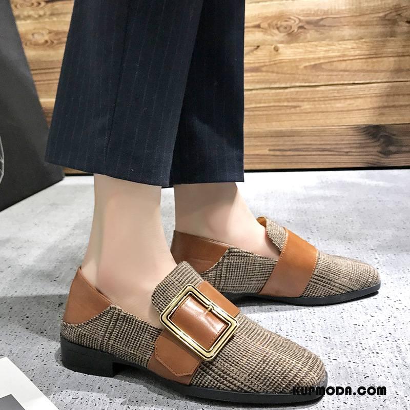 Mokasyny Damskie Loafers Vintage Buty Brytyjski Wiosna Gruba Podeszwa Szary