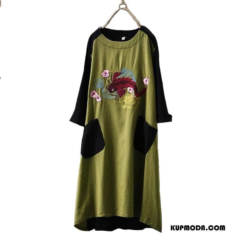 Odzież Duże Rozmiary Damskie Długie Cienkie Eleganckie Slim Fit Popularny Szerokie Zielony