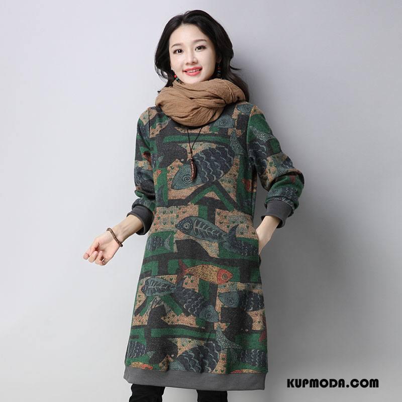 Odzież Duże Rozmiary Damskie Długie Tendencja Szerokie Swag Casual Moda Zielony