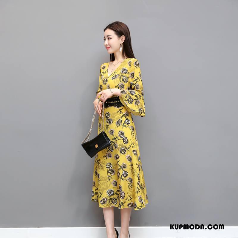 Odzież Duże Rozmiary Damskie Sukienka 2018 Slim Fit Wiosna Rękawy Moda Żółty