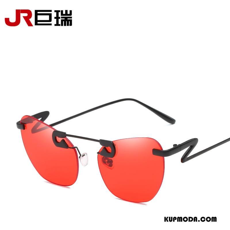 Okulary Przeciwsłoneczne Damskie Dekoracja Damska Trendy Moda Nowy Złoty Czerwony