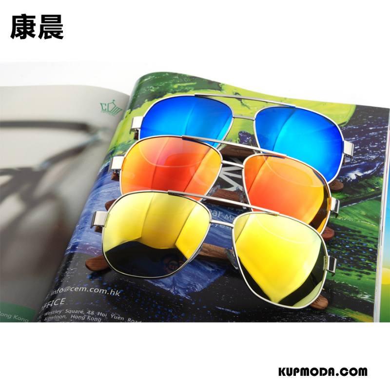 Okulary Przeciwsłoneczne Damskie Drewno Ropucha Polaryzator Wielki Damska Bambus Kolor Złoty
