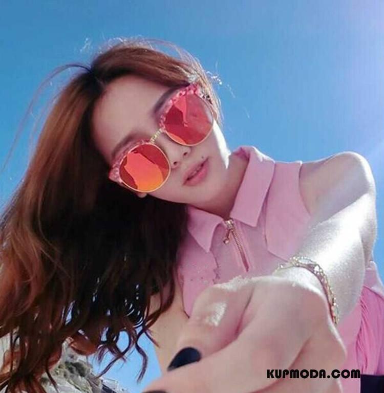Okulary Przeciwsłoneczne Damskie Odzwierciedlenie Okrągła Twarz Długie Gwiazda Damska Trendy Czerwony