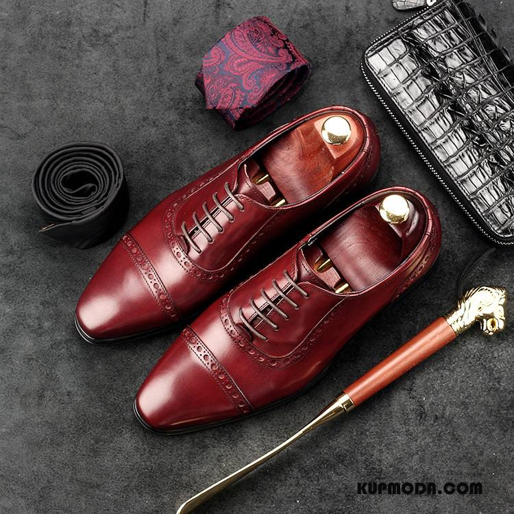 Półbuty Wizytowe Męskie Męska Skóra Bydlęca Skórzane Buty Gorąca Sprzedaż Buty Ślubne Biznes Czerwony