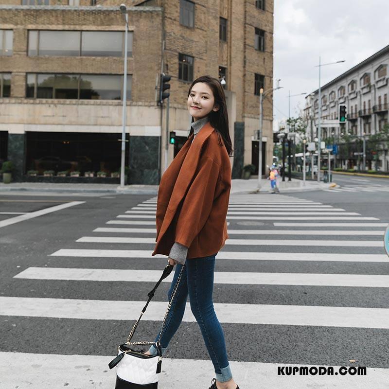 Płaszcze Damskie 2018 Nietoperze Moda Slim Fit Eleganckie Cienkie Karmel Czysta