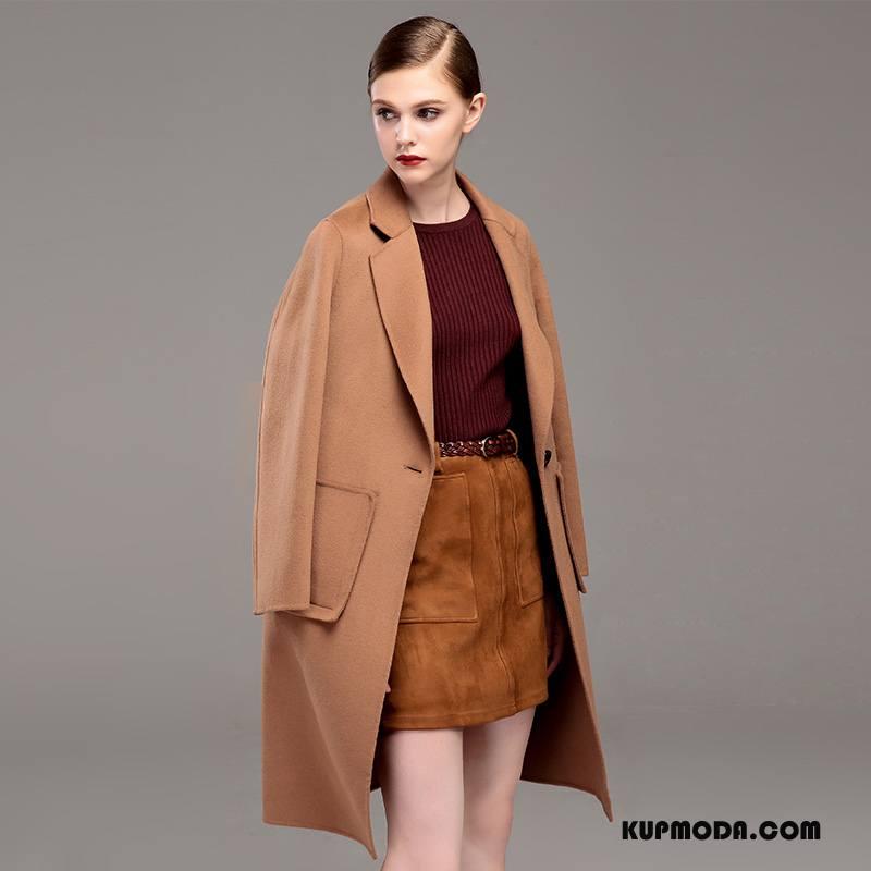 Płaszcze Damskie Casual Z Wełny Zima Eleganckie Tendencja Moda Czysta