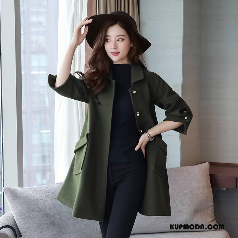 Płaszcze Damskie Długi Rękaw 2018 Z Wełny Moda Długie Zima Zielony