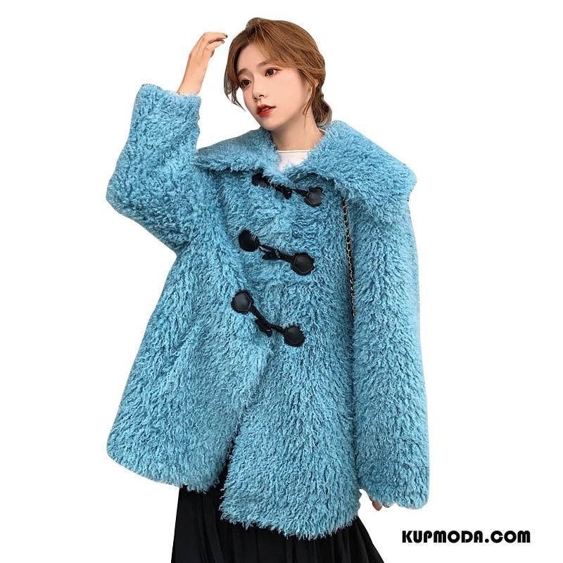 Płaszcze Damskie Długi Rękaw Eleganckie Szerokie Slim Fit Piękny Proste Niebieski