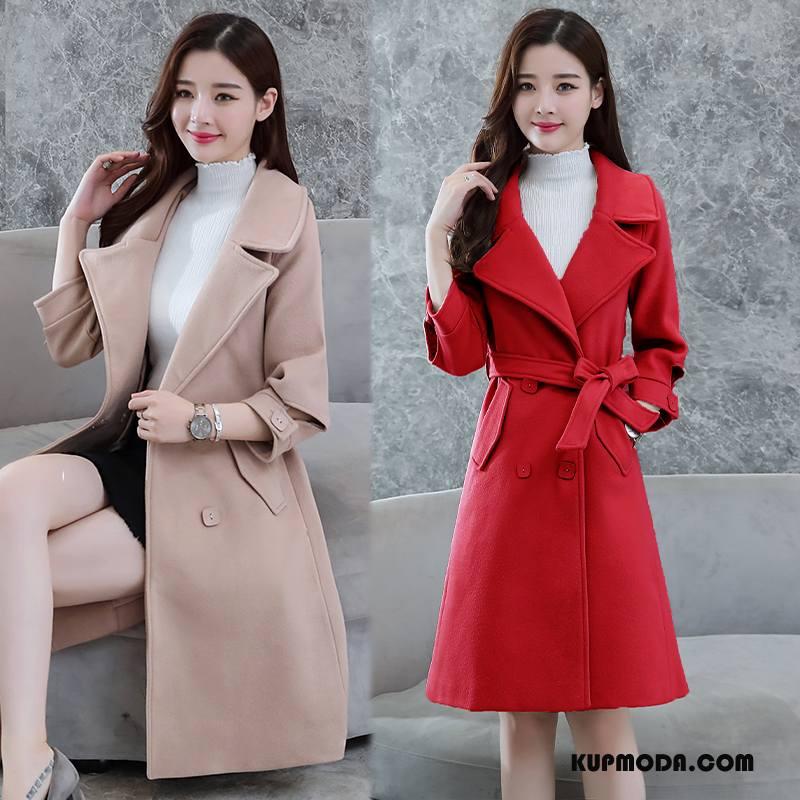 Płaszcze Damskie Długi Rękaw Z Wełny Tendencja Długie Zima Moda Czerwony