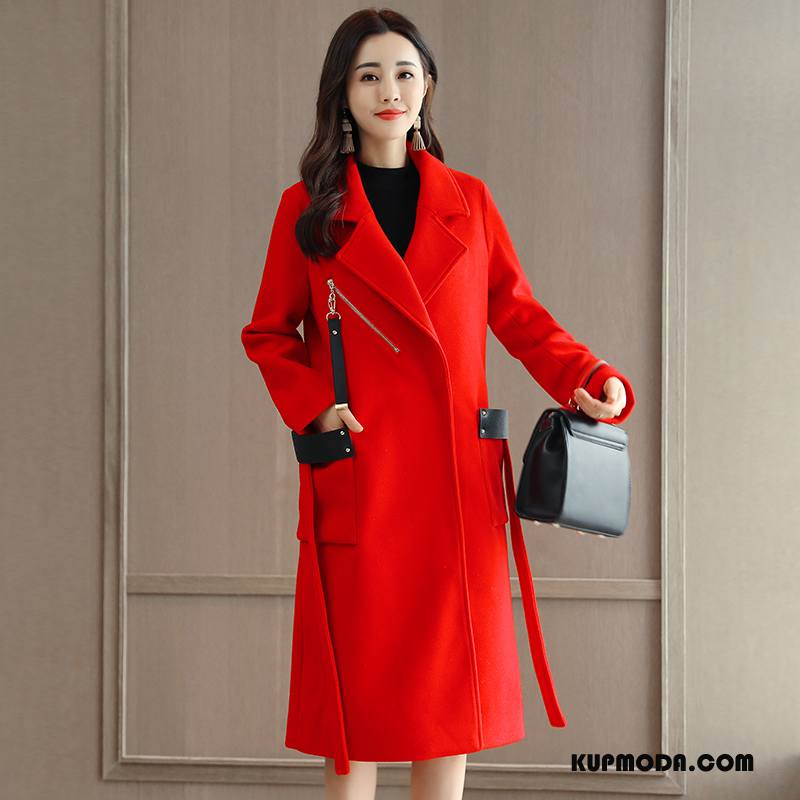 Płaszcze Damskie Długi Rękaw Z Wełny Zima Moda Długie Casual Czerwony
