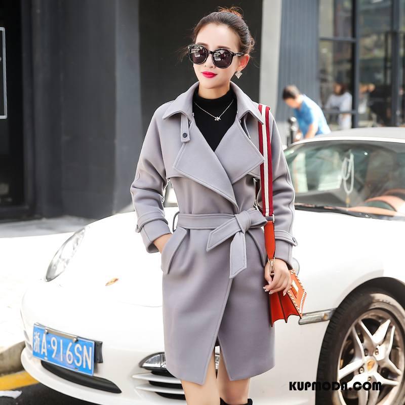 Płaszcze Damskie Długie Z Wełny Garnitury Slim Fit Pasy Sznurowane Czysta Srebrny Szary