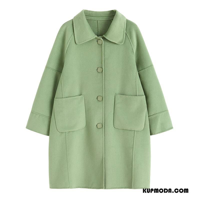 Płaszcze Damskie Dwustronny Nowy Moda Wełna Zielony