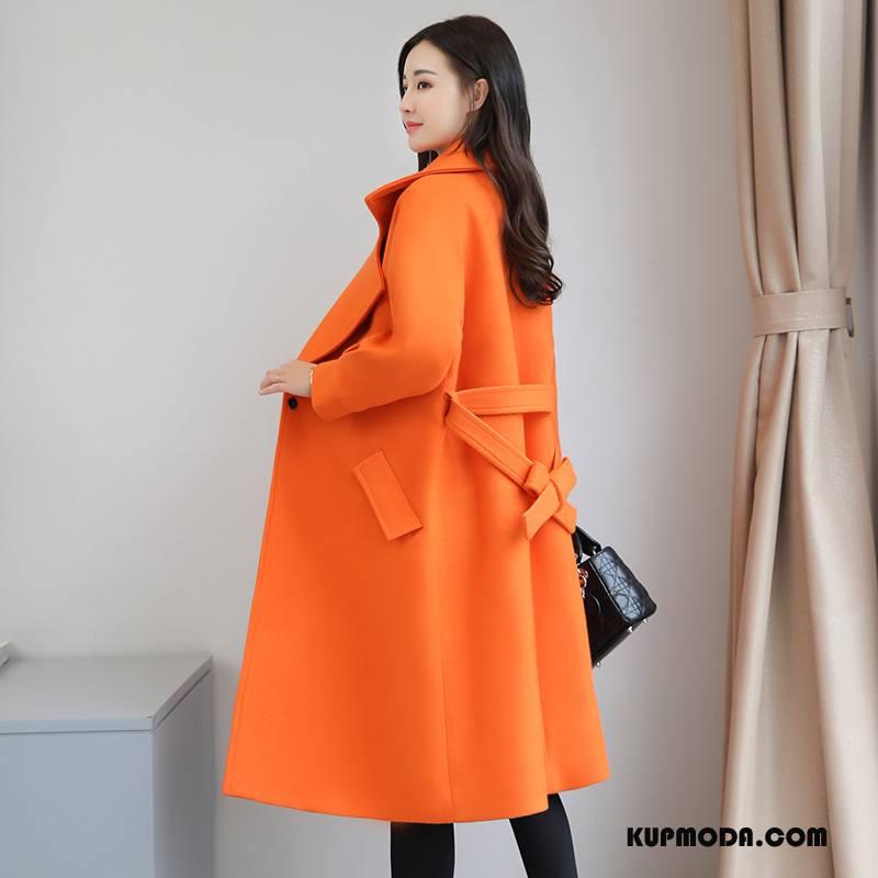 Płaszcze Damskie Moda Młodzieżowa Długi Rękaw Wygodne Proste Z Wełny Oranż