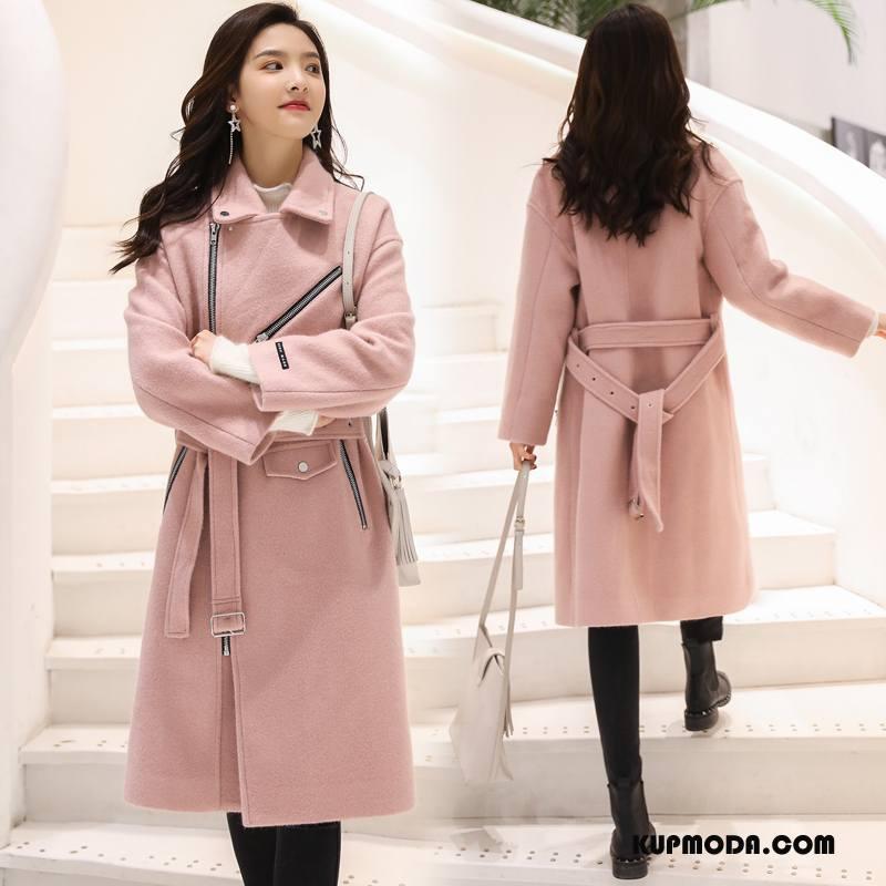 a1ccff6cca11d Płaszcze Damskie Moda Tendencja 2018 Z Wełny Długie Wiosna Czysta Różowy