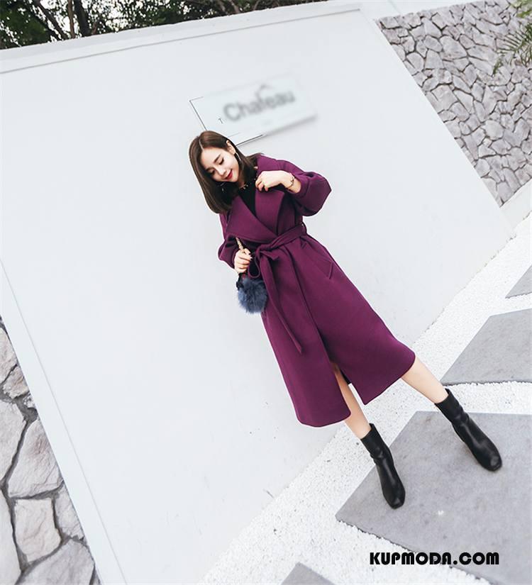 Płaszcze Damskie Proste Eleganckie Casual Wygodne Z Wełny Jesień Purpurowy Czysta