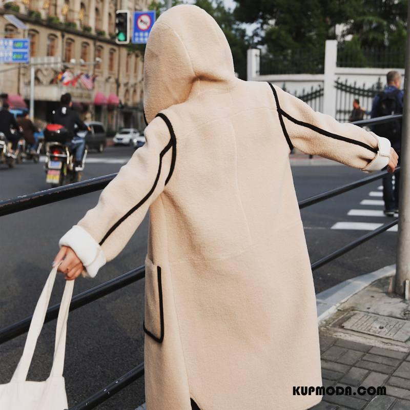 Płaszcze Damskie Slim Fit Długi Rękaw Długie Z Wełny Eleganckie Proste Khaki Czysta Jasny