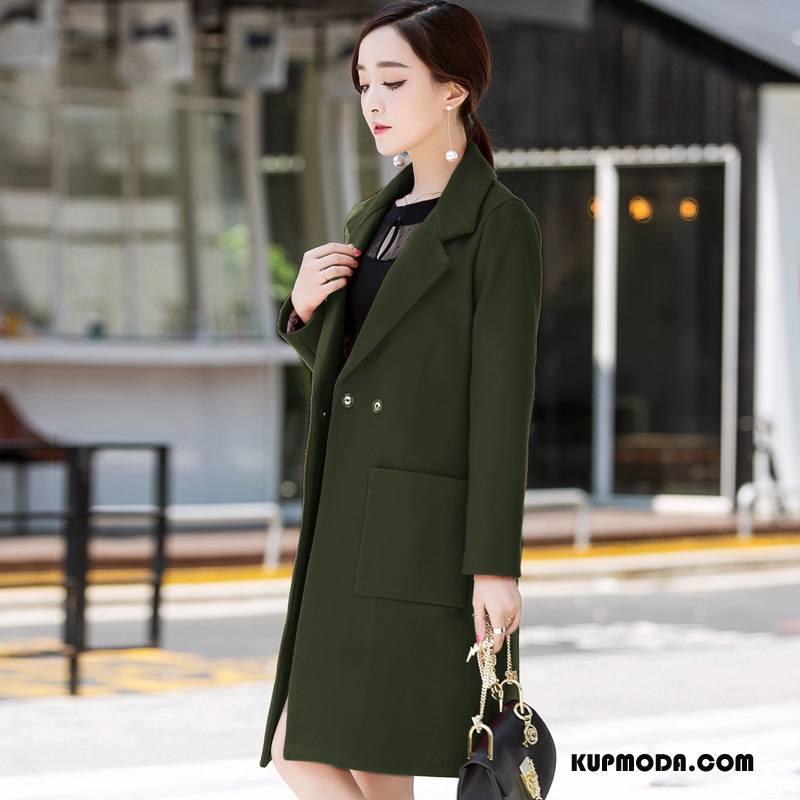 Płaszcze Damskie Szycie Eleganckie Jesień Kieszenie Casual Tendencja Czysta Zielony