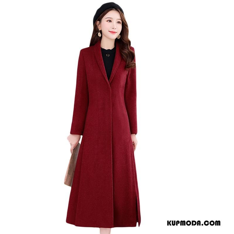 Płaszcze Damskie Tendencja Długie Zima Moda Z Wełny Wygodne Bordeaux