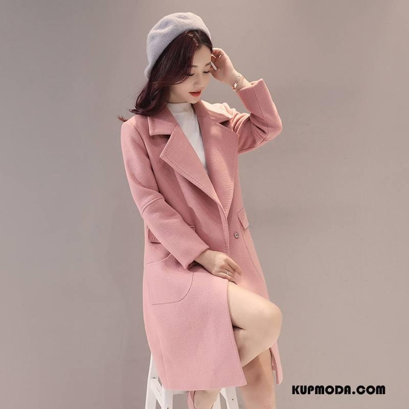 Płaszcze Damskie Tendencja Zima Proste Moda Garnitury Slim Fit Czysta Różowy