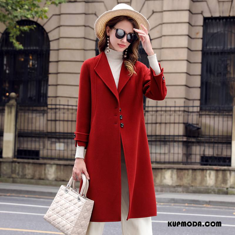 Płaszcze Damskie Wełna Moda Długie Z Wełny Garnitury Eleganckie Czysta Czerwony