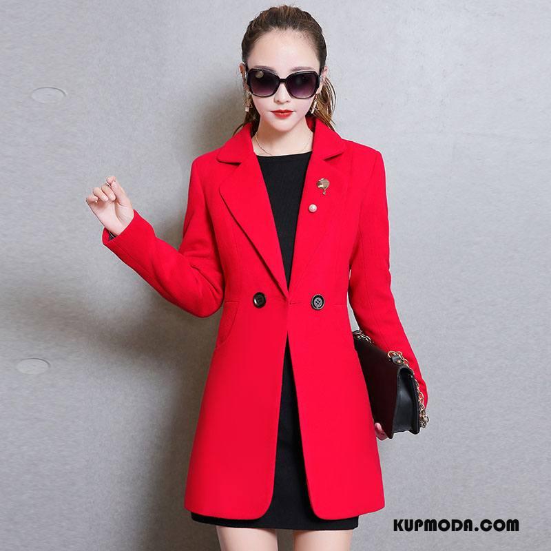 c575d5ff85c3e Płaszcze Damskie Wiosna Moda Tendencja Proste Garnitury Długie Czysta  Czerwony Dyskont