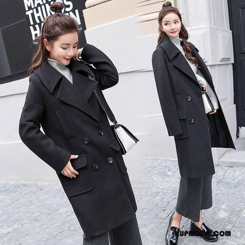 Płaszcze Damskie Z Wełny Eleganckie Długi Rękaw Proste Długie Zima Czysta Czarny