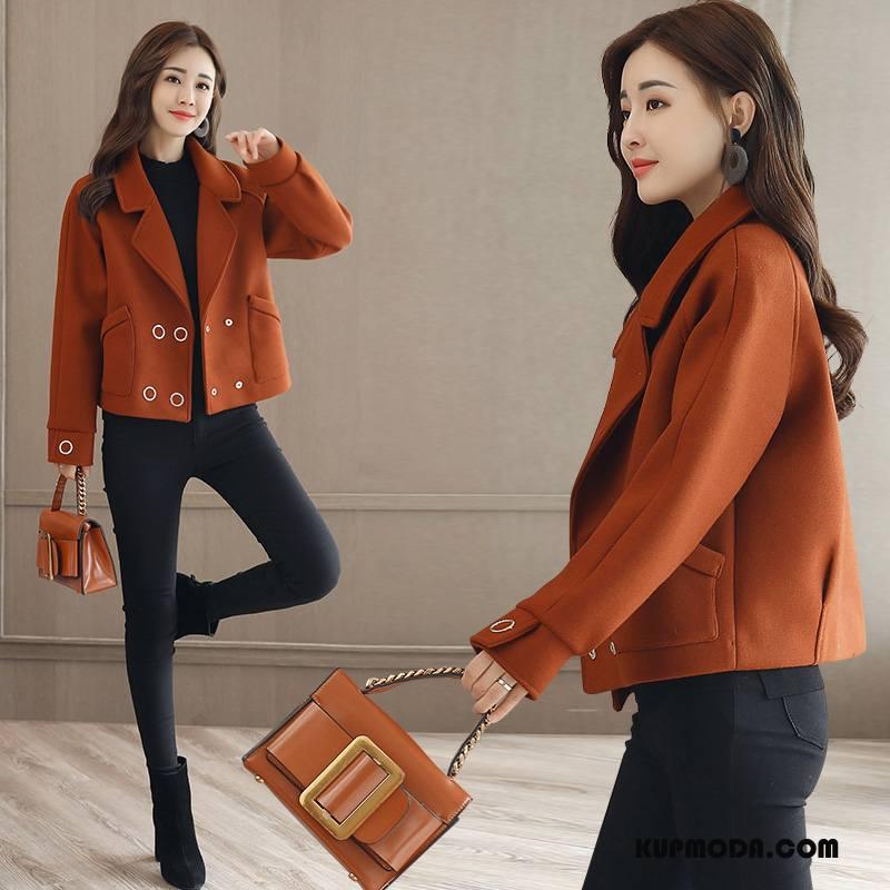 Płaszcze Damskie Z Wełny Moda Długi Rękaw Piękny Slim Fit Eleganckie Karmel