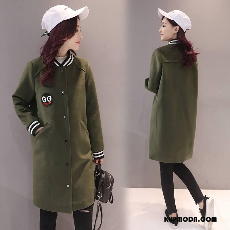 Płaszcze Damskie Z Wełny Proste Długi Rękaw Jednorzędowy Zima Slim Fit Zielony