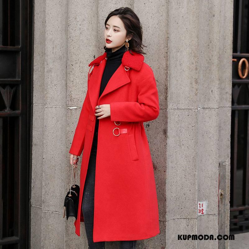 Płaszcze Damskie Z Wełny Zima Moda Długi Rękaw Eleganckie Cienkie Czysta Czerwony