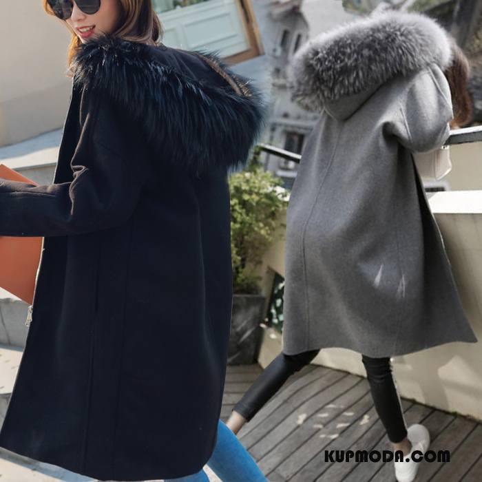 Płaszcze Damskie Zima Rękawy Eleganckie Dla Grubych Moda Nietoperze Czarny