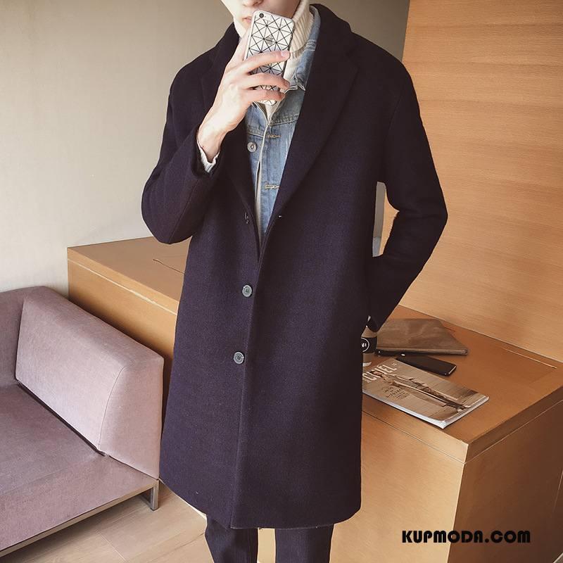 Płaszcze Męskie Nowy Długie Sweter Rozpinany Męska Zima Slim Fit Granatowy