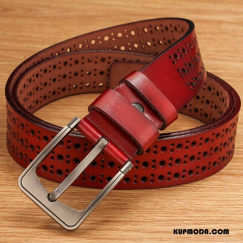 Paski Męskie Moda Damska Skóra Bydlęca Vintage Prawdziwa Skóra Pin Klamra Brązowy Czerwony