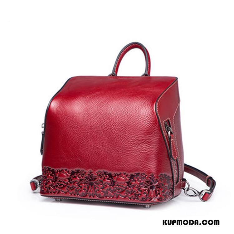 Plecak Damskie Górna Skóra Vintage Skóra Bydlęca Prawdziwa Skóra Damska Średni Czerwony