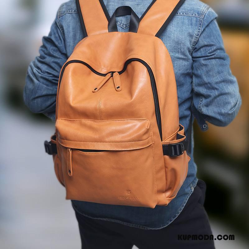 Plecak Męskie Damska Wodoodporny Trendy Podróż Skóra Student Brązowy