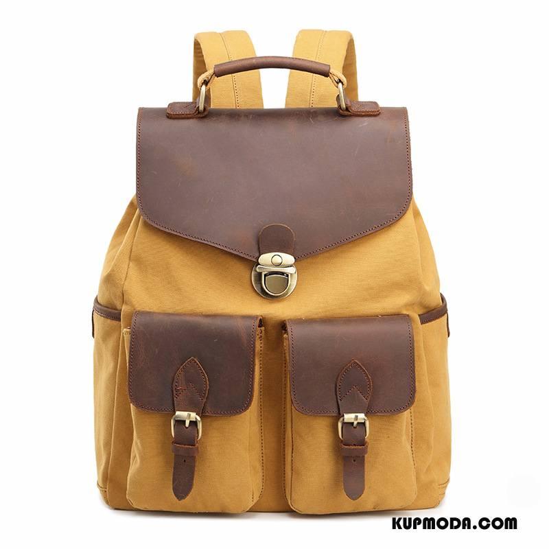 Plecak Męskie Outdoor Z Bawełny Męska Podróż Casual Płótno Żółty
