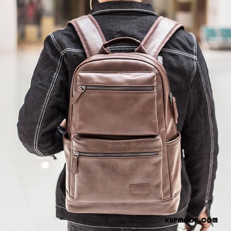 Plecak Męskie Skóra Pu Student Męska Wielki Casual Trendy Brązowy